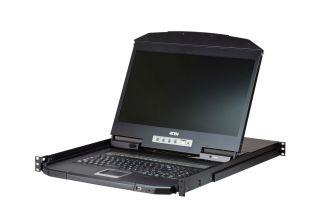 CONSOLE LCD RACKABLE 1U PS2-USB/VGA  ECRAN LARGE FAIBLE PROFONDEUR 8 PORTS