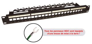 "PANNEAU NU 1U 19"" 24 RJ45 BLINDE Keystone noir"